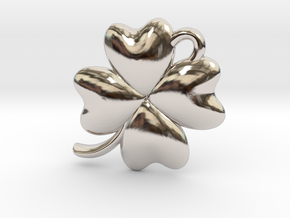 4 Leaf Clover Charm in Rhodium Plated Brass