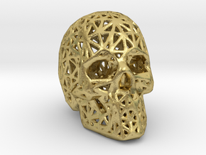 Human Skull with Pattern in Natural Brass