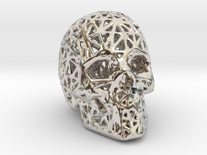Human Skull with Pattern in Rhodium Plated Brass