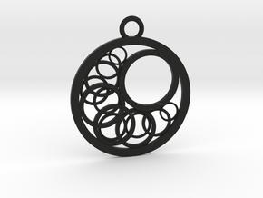 Geometrical pendant no.16 in Black Natural Versatile Plastic: Small