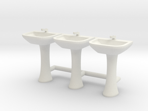 Sink 01. HO Scale (1:87) in White Natural Versatile Plastic