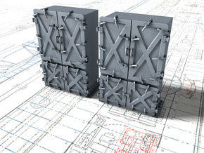 "1/48 Royal Navy 4"" Ready Use Lockers (Large) x2 in Smooth Fine Detail Plastic"