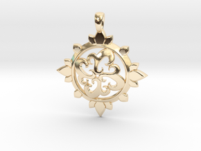 Earth Design Pendant in 14k Gold Plated Brass