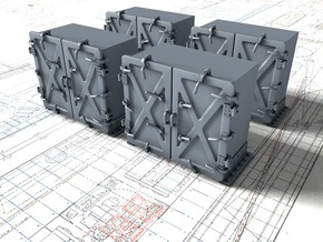 """1/48 Royal Navy 4"""" Ready Use Lockers (Med) x4 in Smooth Fine Detail Plastic"""