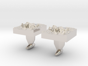 Mt. Everest cuff links in Rhodium Plated Brass