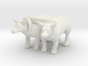S Scale Oxen in White Natural Versatile Plastic