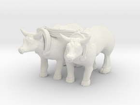 HO Scale Oxen in White Natural Versatile Plastic