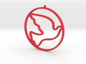 Bird-Dove-02 in Red Processed Versatile Plastic
