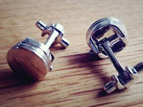 Piston Cufflinks in Natural Silver