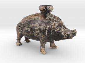 Mini Color Boar Vessel, 600-500 BC, Etruscan in Natural Full Color Sandstone