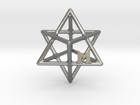 MILOSAURUS Tetrahedral 3D Star of David Pendant in Natural Silver