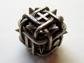 Fudge Thorn d6 in Polished Bronzed Silver Steel