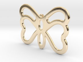 Butterfly Pendant / Necklace-23 in 14k Gold Plated Brass