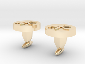 Confucianism Cuff Links - Round in 14k Gold Plated Brass