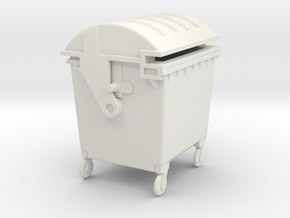 Waste container 4 wheels 1100 ltr. - 1:50 in White Natural Versatile Plastic