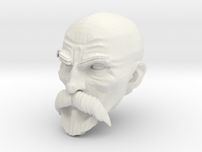 Bald Head with facial hair 1 in White Natural Versatile Plastic