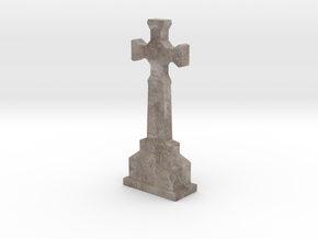 Miniature Stone Cross 01 in Natural Full Color Sandstone