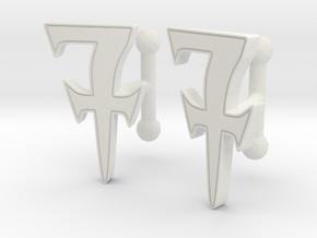 Monogrammed cufflink set in White Premium Versatile Plastic