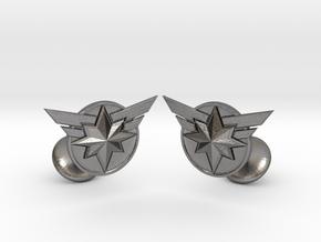 Captain Marvel Cufflinks in Polished Nickel Steel
