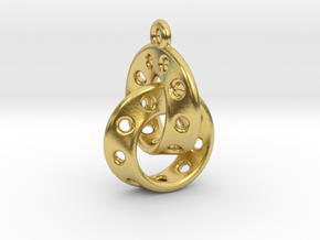 Möbius Band Earring Interlocked in Polished Brass (Interlocking Parts)