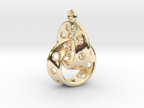 Möbius Band Earring Interlocked in 14k Gold Plated Brass