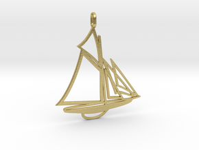 Sailboat pendant in Natural Brass