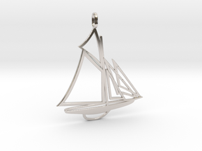 Sailboat pendant in Rhodium Plated Brass