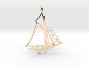 Sailboat pendant in 14k Gold Plated Brass