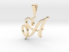 INITIAL PENDANT A in 14k Gold Plated Brass