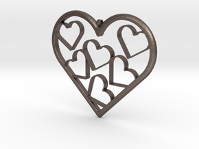 Hearts Necklace / Pendant-07 in Polished Bronzed-Silver Steel