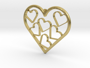 Hearts Necklace / Pendant-07 in Natural Brass