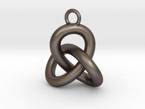 Trefoil Knot Earring in Polished Bronzed-Silver Steel