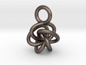 5-Knot Earring 10mm wide in Polished Bronzed-Silver Steel
