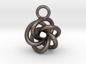 5-Knot Earring 15mm wide in Polished Bronzed-Silver Steel