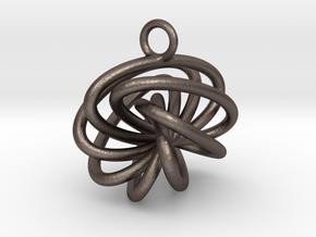7-Knot Earring 15mm wide in Polished Bronzed-Silver Steel