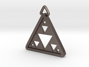 Triangle Fractal Pendant in Polished Bronzed-Silver Steel