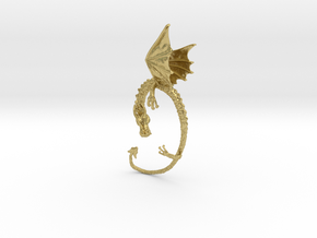 Dragon earrings  in Natural Brass