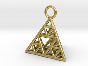Sierpinski Tetrahedron earring with 16mm side in Natural Brass