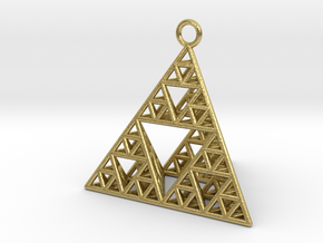 Sierpinski Tetrahedron earring with 32mm side in Natural Brass