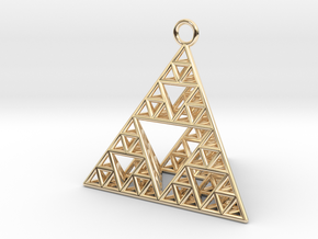 Sierpinski Tetrahedron earring with 32mm side in 14k Gold Plated Brass