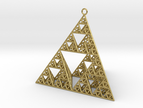 Sierpinski Tetrahedron earring with 64mm side in Natural Brass