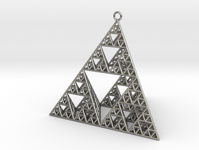 Sierpinski Tetrahedron earring with 64mm side in Natural Silver
