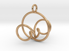 3D Spirograph projection erring 5 loops in Natural Bronze