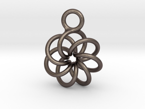 Torus Knot Earring 7 knots in Polished Bronzed-Silver Steel
