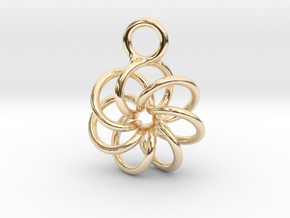 Torus Knot Earring 7 knots in 14k Gold Plated Brass