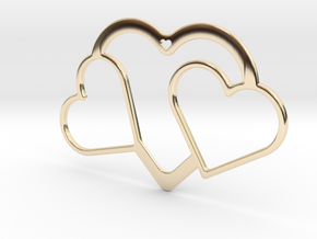 Hearts Necklace / Pendant-04 in 14K Yellow Gold