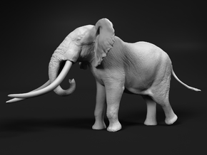 African Bush Elephant 1:22 Giant Bull in White Natural Versatile Plastic