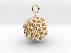Level 2 Sierpinski Dodecahedron (small) in 14k Gold Plated Brass