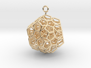 Level 2 Sierpinski Dodecahedron earring (medium) in 14K Yellow Gold