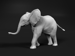 African Bush Elephant 1:64 Running Male Calf in Smooth Fine Detail Plastic